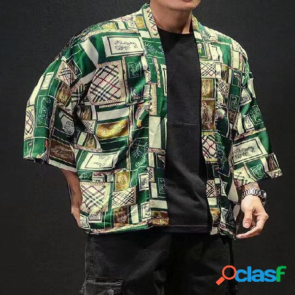 Masculino casual colorido bloco cartoon impressão multicolor retro protetor solar mangas 3/4 cardigã