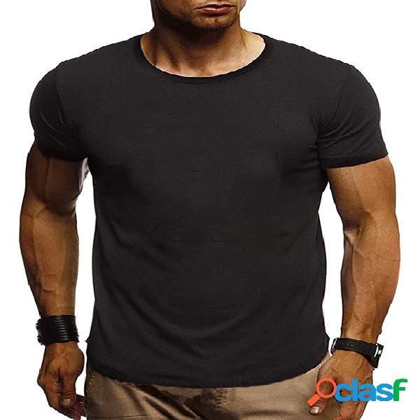Camiseta masculina verão algodão soft casual lisa