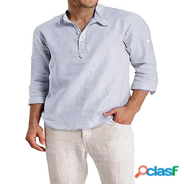 Homem outono algodão soft casual colarinho botão frente liso camisa