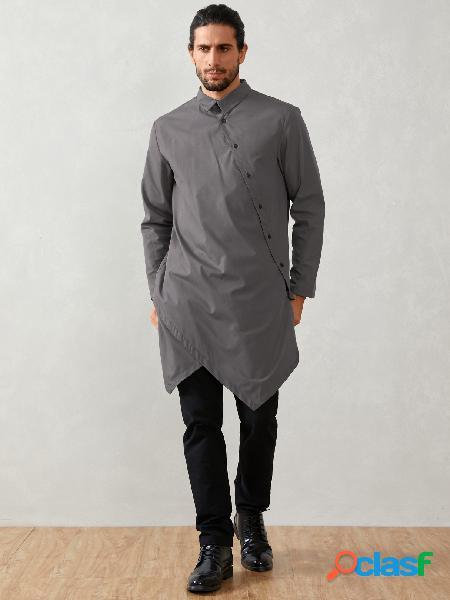 Homem casual muçulmano médio comprimento colarinho irregular camisa