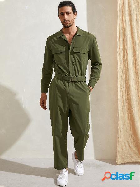 Macacão moda masculina casual com zíper one peças manga comprida macacão