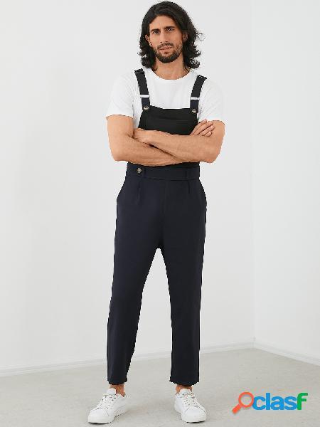 Macacão yoins basics moda masculina grande bolso macacão casual suspender macacão macacão
