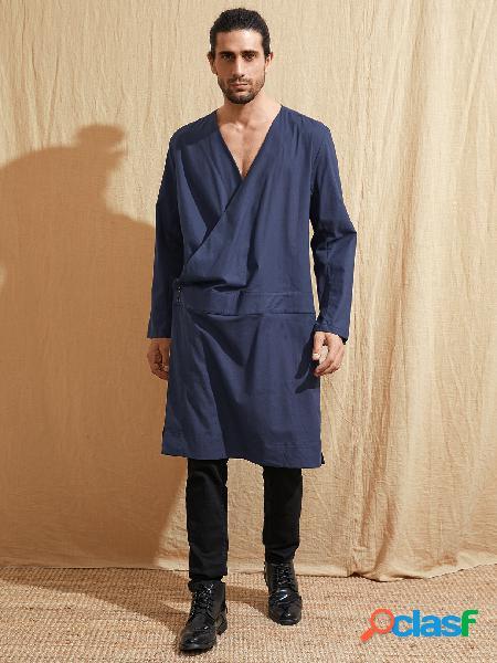 Masculino casual decote em v liso, comprimento médio, estilo étnico retro camisa