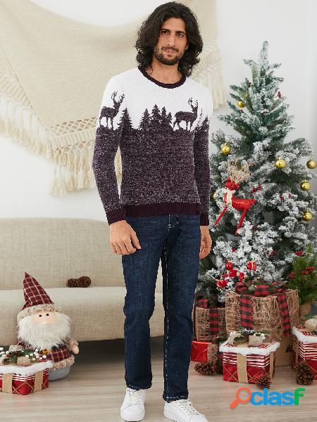 Suéter masculino de tricô masculino com estampa de cervo com gola redonda
