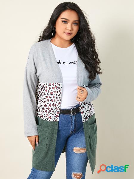 Yoins plus tamanho leopardo dois bolsos grandes mangas compridas cardigan