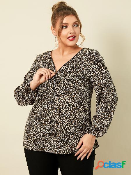 Blusa tamanho plus tamanho leopardo com zíper frontal de mangas compridas