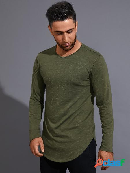 Camiseta masculina casual cor sólida confortável
