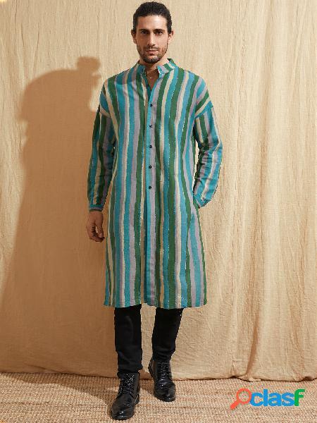 Masculino casual estilo étnico colarinho listrado comprimento médio camisa