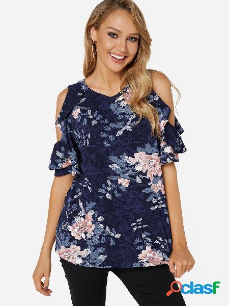 Camiseta de manga curta com estampa floral estampa floral marinho recortado ombro frio