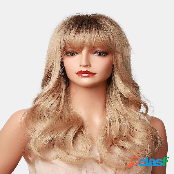 Golden hierarchical long wavy curly cabelo com air bangs natural curly sintético peruca para uso diário