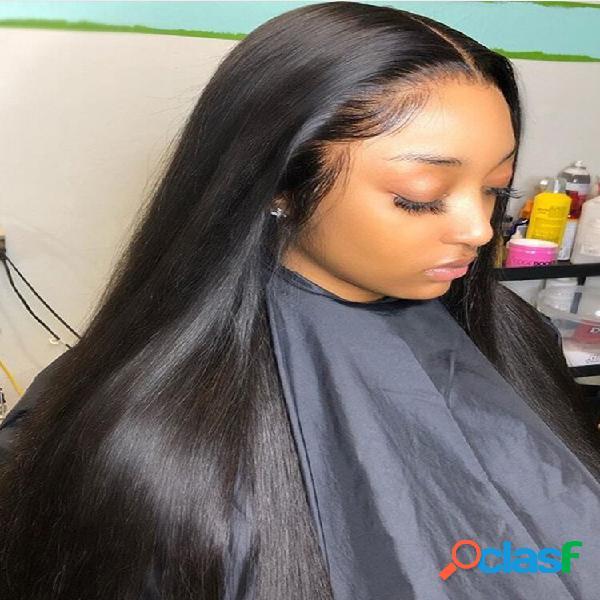 Preto longo reto cabelo parte intermediária capa de fibra sintética completa peruca