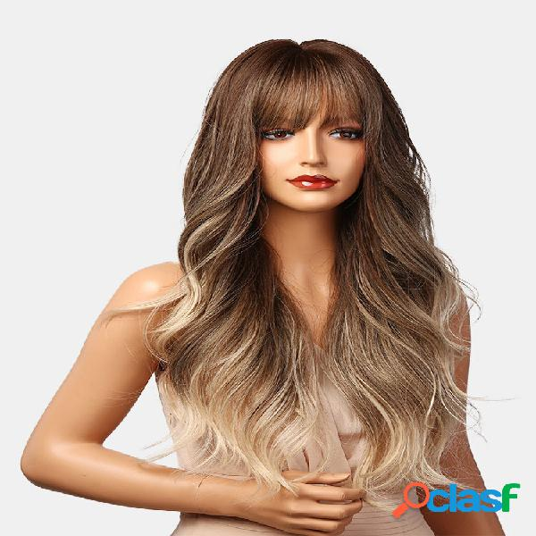 Castanho escuro branco claro cor gradiente longo natural ondulado encaracolado cabelo perucas sintéticas adequadas para