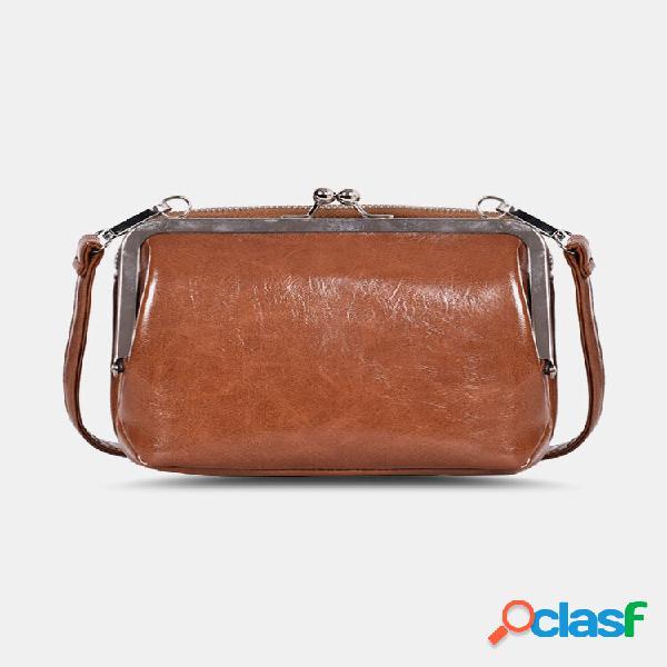 Clipe de camada dupla vintage compact soild bolsa telefone bolsa crossbody bolsa