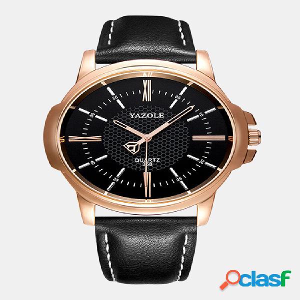 Relógio masculino vintage de couro fino banda relógio de quartzo à prova d'água