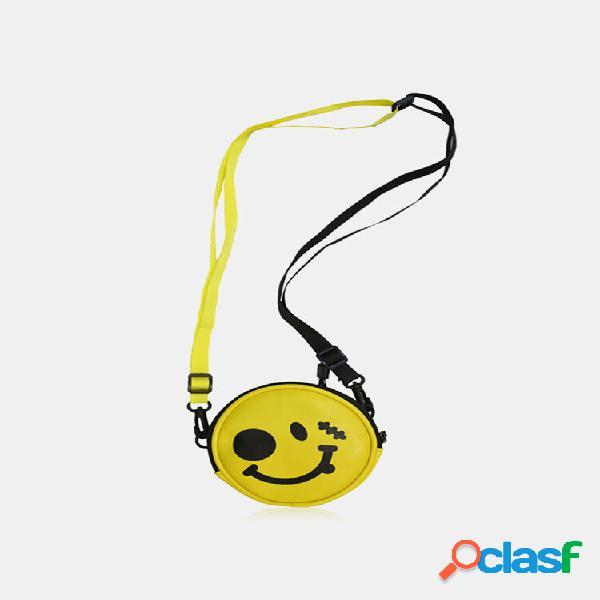 Mochila feminina cute canvas yellow smile padrão impressa redonda multi-carry crossbody bolsa