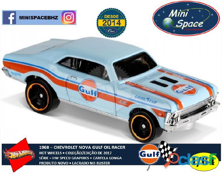 Hot Wheels 1968 Chevy Nova logo Gulf Oil Racing azul 1/64