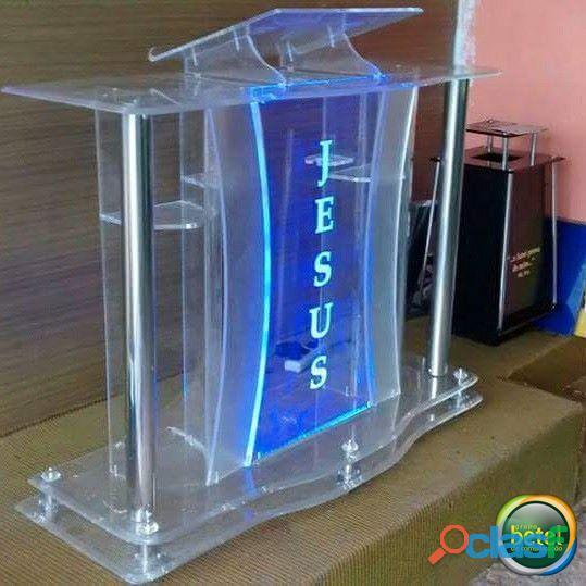 Púlpito em acrílico e aço inox   Modelo Abraão   Para igrejas e capelas   Grupo Betel
