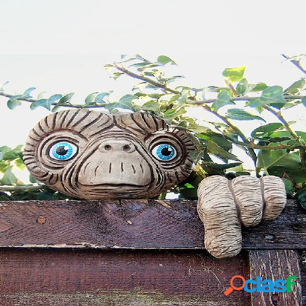 Criativo Engraçado Artificial Alien ET Enfeite de resina de rosto Cercas de árvores Penduradas Decoração de quintal de j