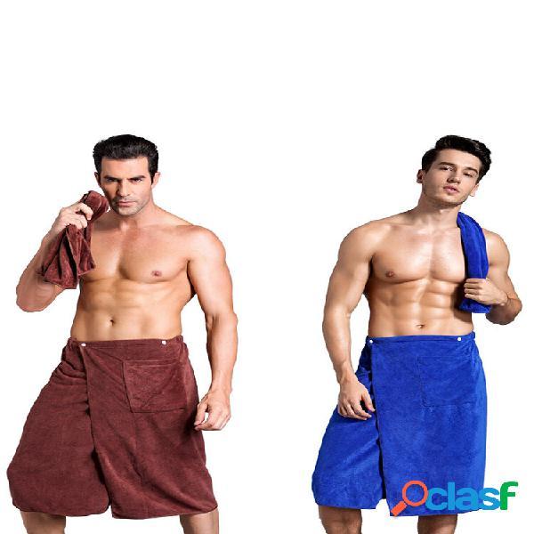 Envoltório de banho Toalha para homens Banho wearable Toalha com bolso Soft Natação Praia Banho Toalha